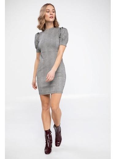 DeFacto Kareli Slim Fit Yarım Kollu Elbise Gri